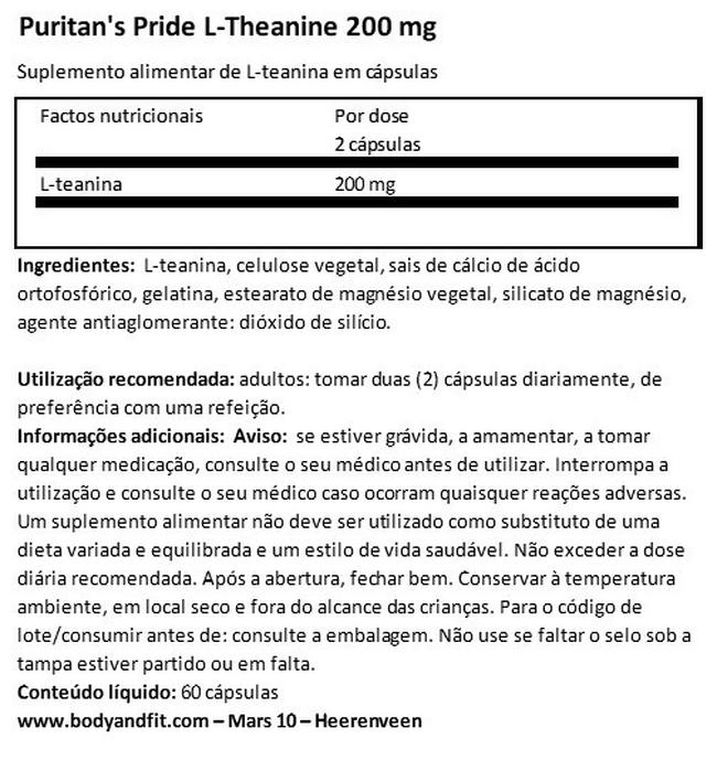 L-Theanine 100 mg Nutritional Information 1