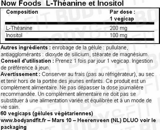 L-Théanine et Inositol Nutritional Information 1