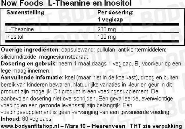 L-Theanine en Inositol Nutritional Information 1