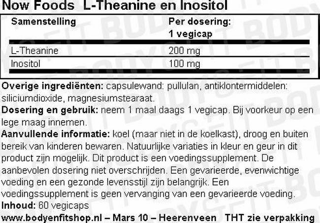L-Theanine en Inositol Nutritional Information 1