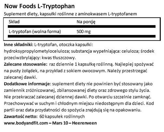 L-tryptofan Nutritional Information 1