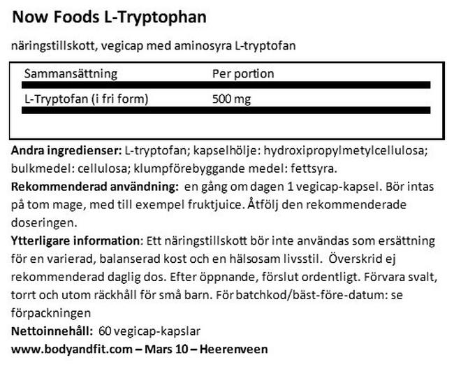 L-Tryptophan Nutritional Information 1