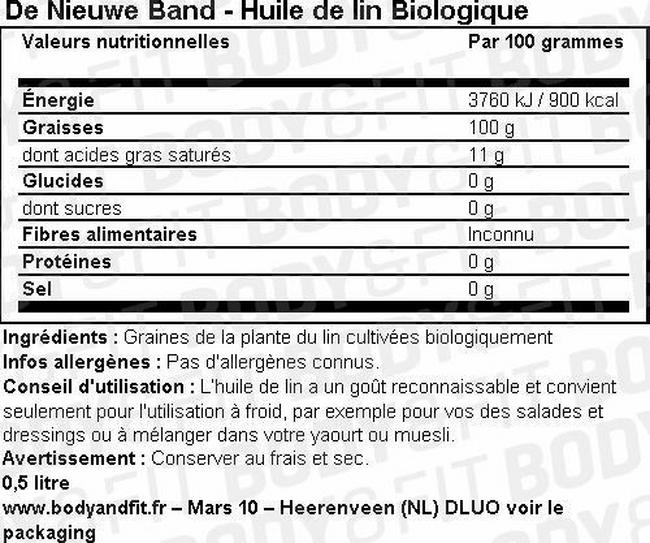Huile de lin biologique Nutritional Information 1
