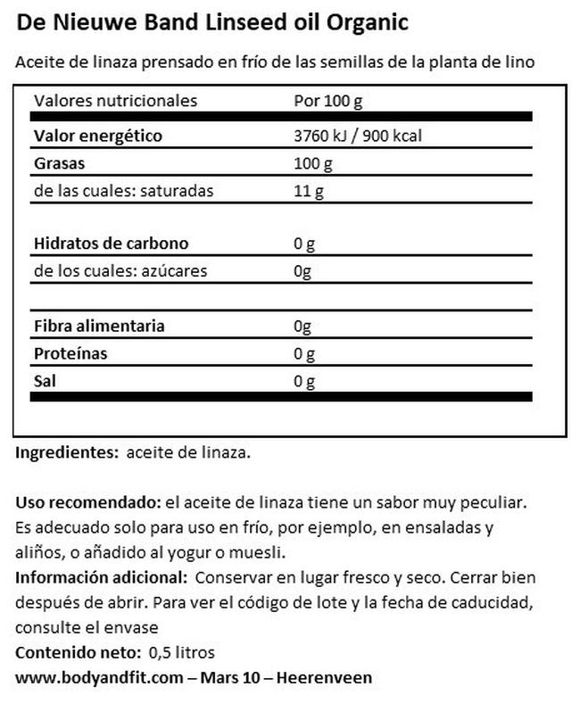 Aceite de linaza orgánico Nutritional Information 1