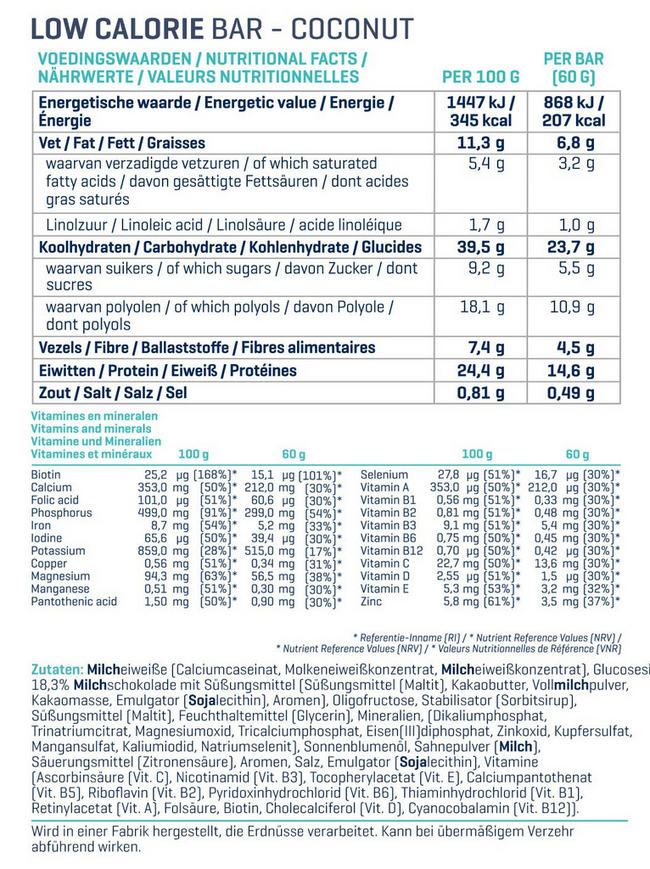 Low Calorie Bars Nutritional Information 1