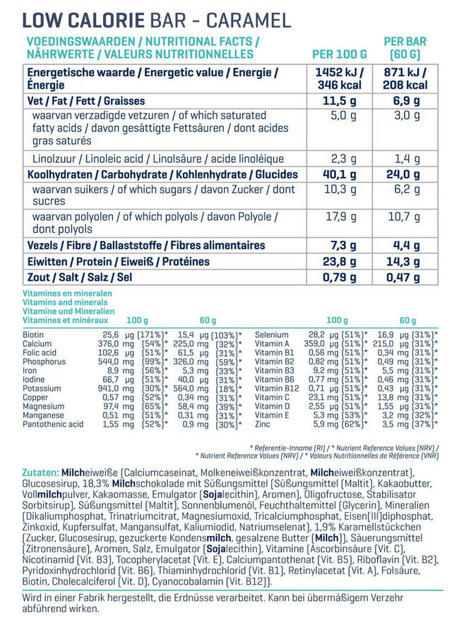 Low Calorie Bars Nutritional Information 2