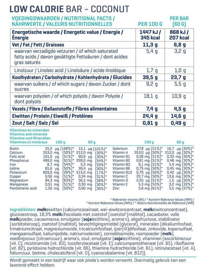 Low Calorie Bars Nutritional Information 1