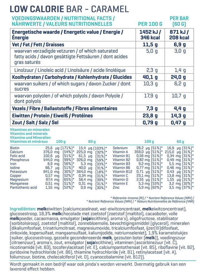 Low Calorie Bars Nutritional Information 2