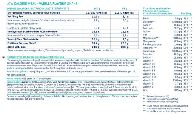 Low Calorie Meal Nutritional Information 1
