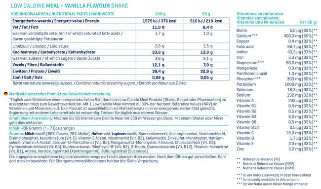 Low Calorie Meal Nutritional Information 2
