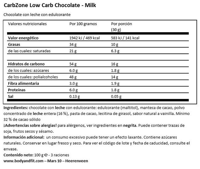 Chocolate Bajo en Carbohidratos Nutritional Information 1