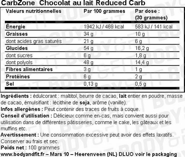 Low Carb Chocolate Nutritional Information 1