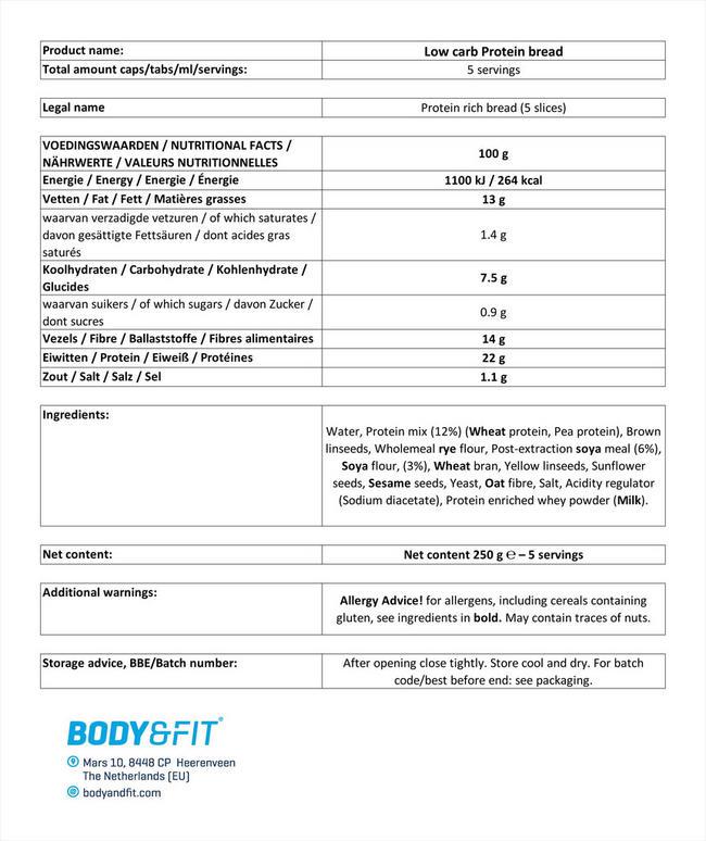 リデュースカーボ プロテインブレッド Nutritional Information 1