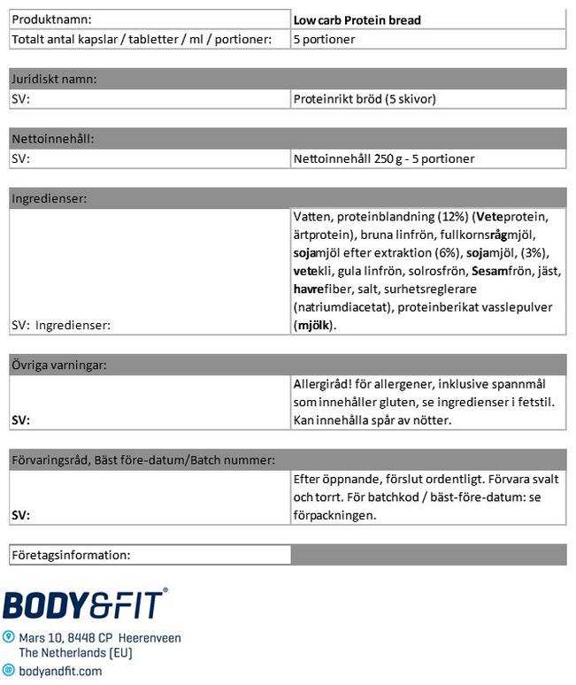 Reduced Carb Protein Bread Nutritional Information 1