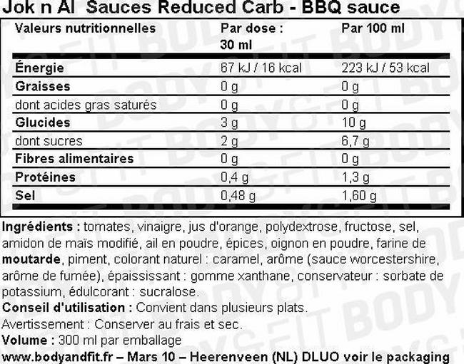 Sauces Reduced Carb Nutritional Information 1