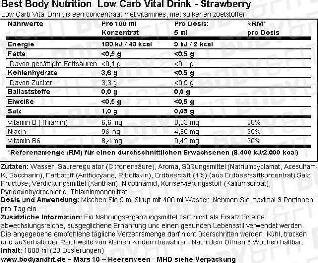 Low Carb Vital Drink Nutritional Information 1