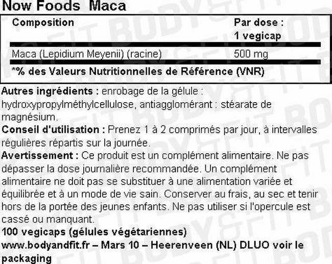 Maca Nutritional Information 1