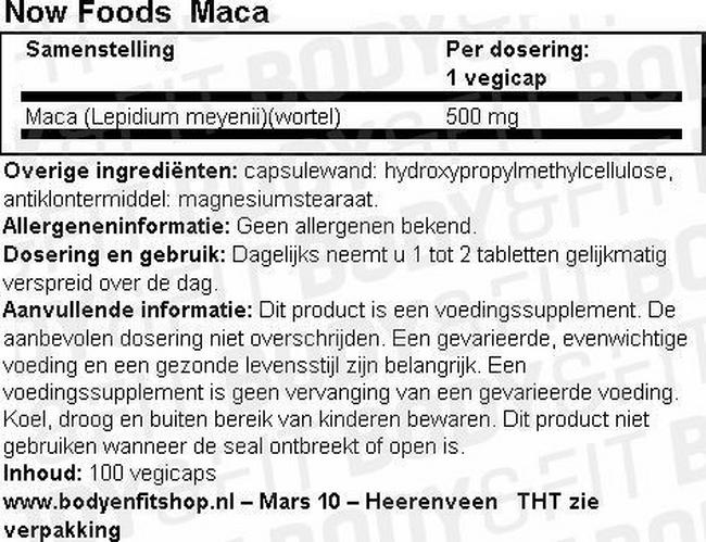 Maca Nutritional Information 1
