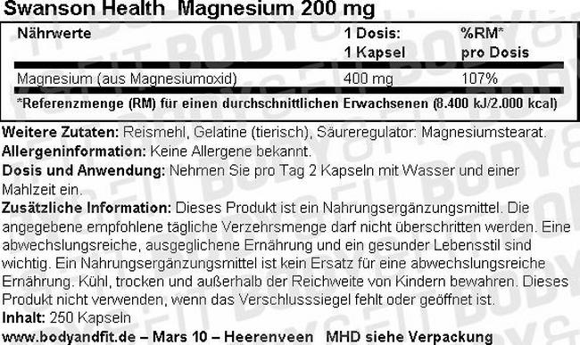 Magnesium 200 mg Nutritional Information 2