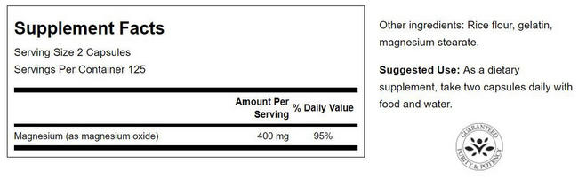 Magnesium 200 mg Nutritional Information 3
