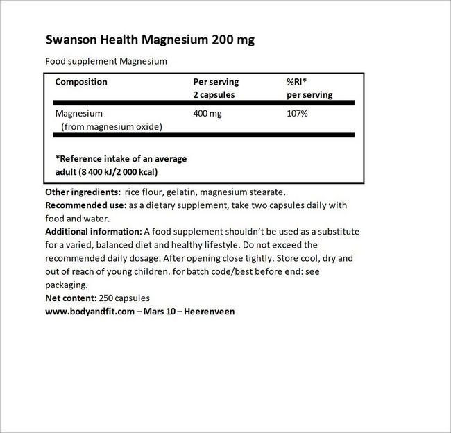 Magnesium 200 mg Nutritional Information 4