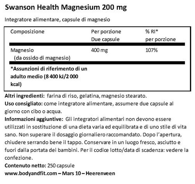 Magnesio 200 mg Nutritional Information 1