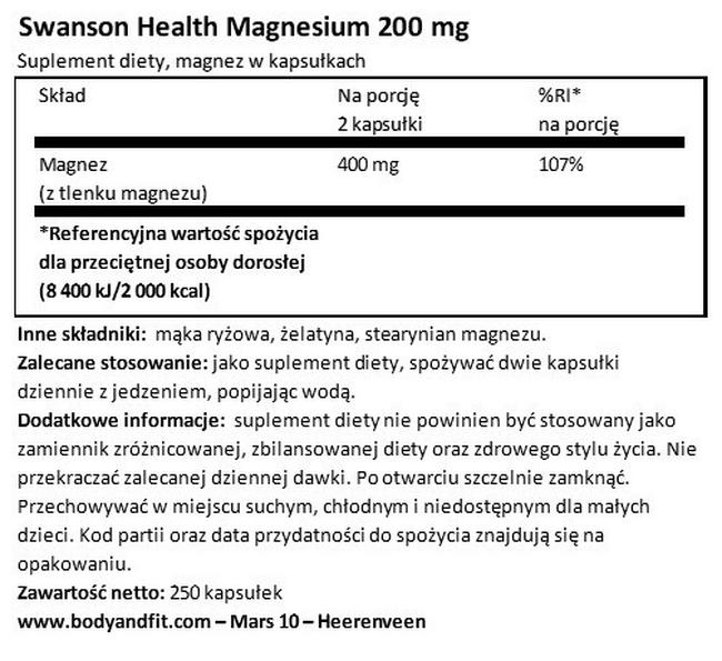 Magnez 200 mg Nutritional Information 1