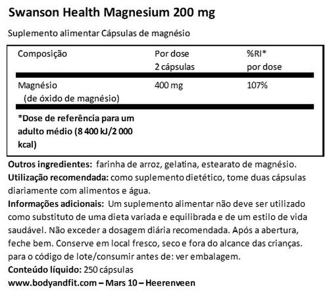 Magnesium 200mg Nutritional Information 1