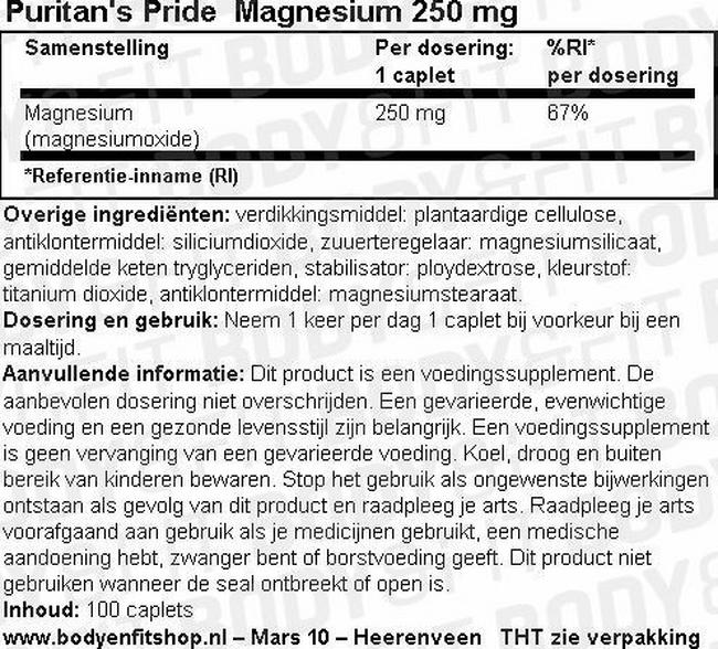 Magnesium 250 mg Nutritional Information 1