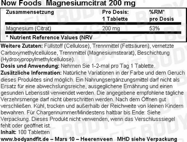 Magnesiumcitrat NOW Nutritional Information 1
