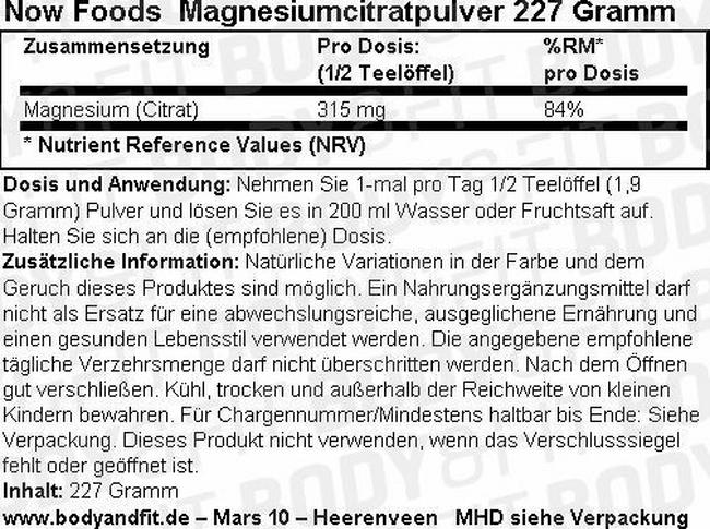 Magnesiumcitrat NOW Nutritional Information 2