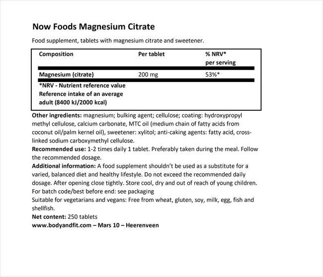 マグネシウム シトラート Nutritional Information 1