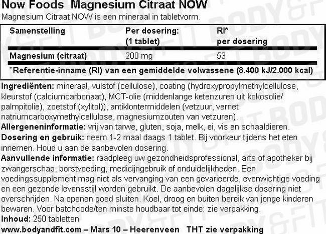 Magnesium Citraat NOW Nutritional Information 1