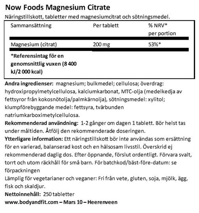 Magnesium Citrate Nutritional Information 1