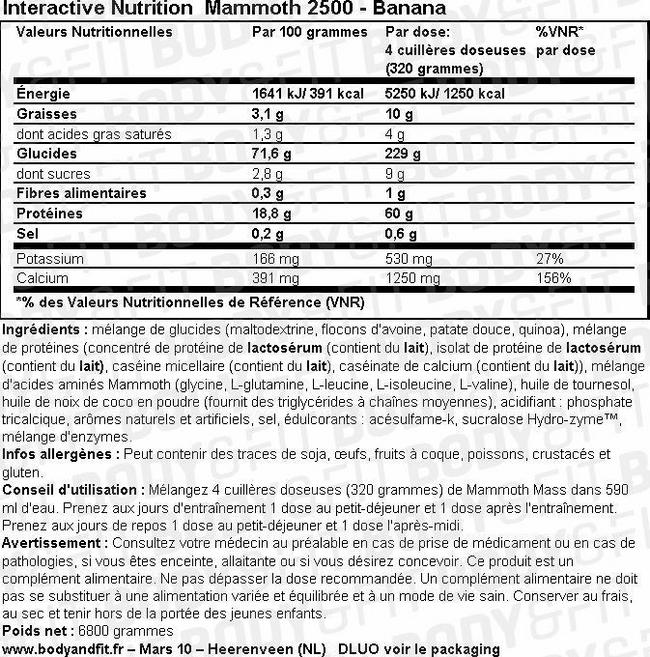Mammoth 2500 Nutritional Information 2
