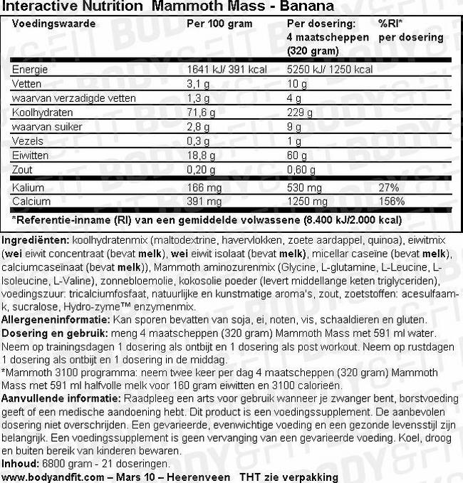 Mammoth 2500 Nutritional Information 1