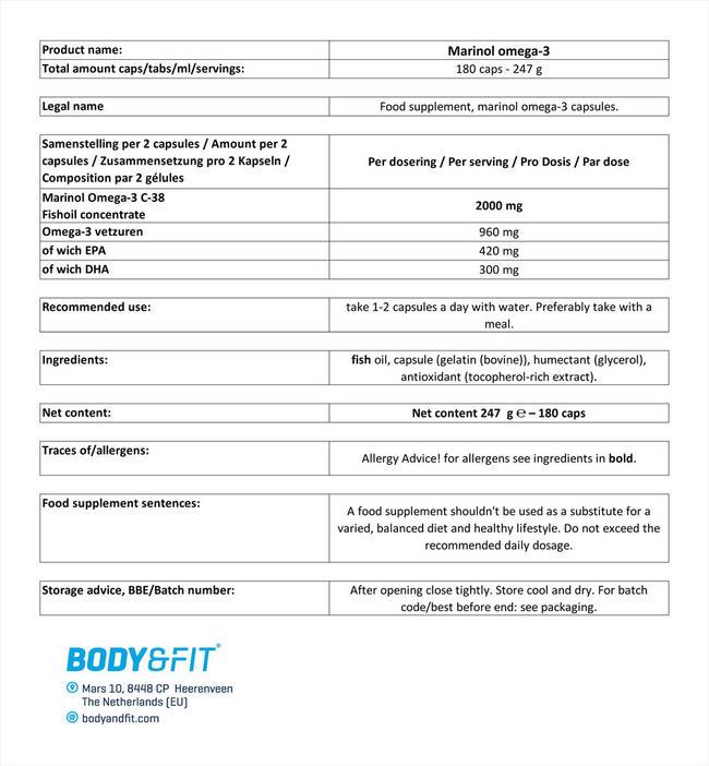 Marinol® オメガ3 Nutritional Information 1