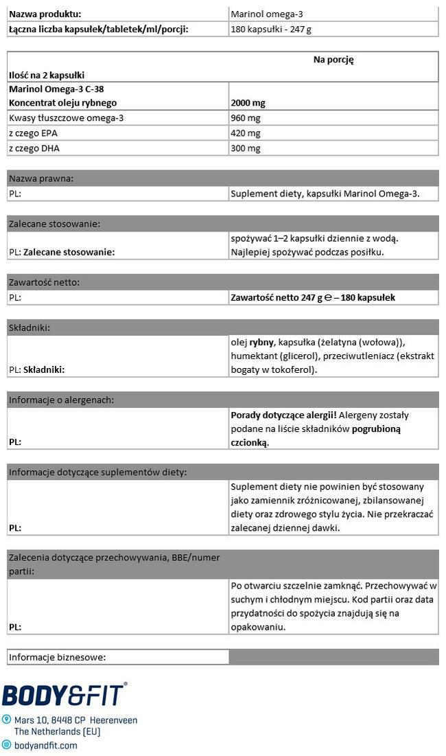 Marinol® Omega3 Nutritional Information 1