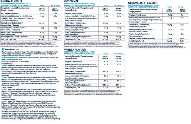Mass Perfection Nutritional Information 2