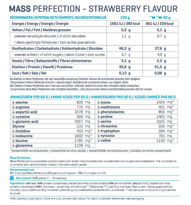 Mass Perfection Nutritional Information 3