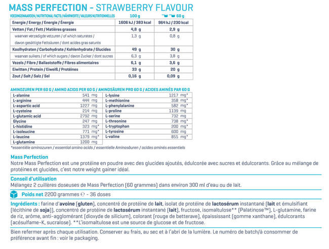 Mass Perfection Nutritional Information 1
