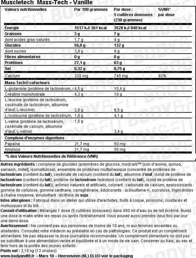Gainer Mass-Tech Nutritional Information 1