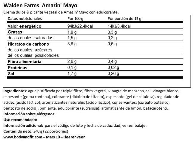Mayonesa Nutritional Information 1