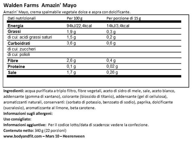 Maionese Nutritional Information 1
