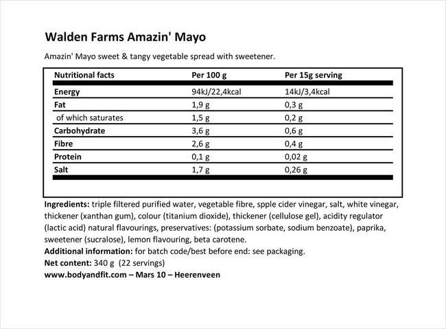 마요네즈 Nutritional Information 1