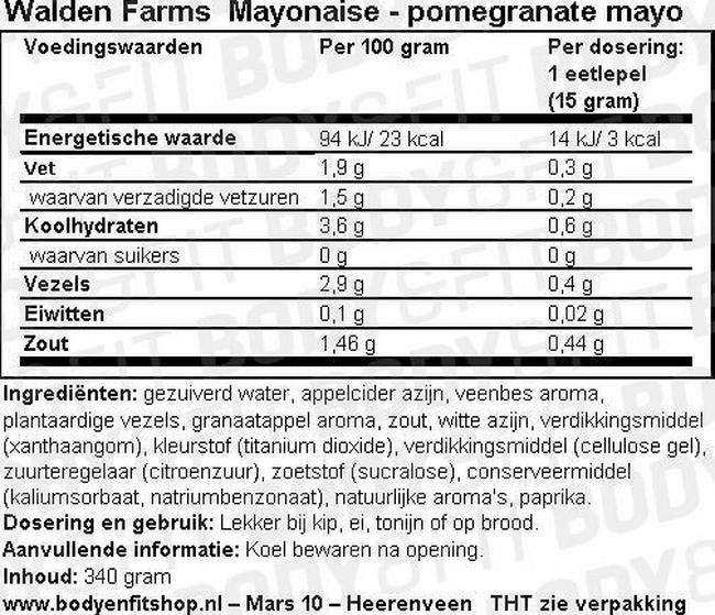 Mayonaise Nutritional Information 1
