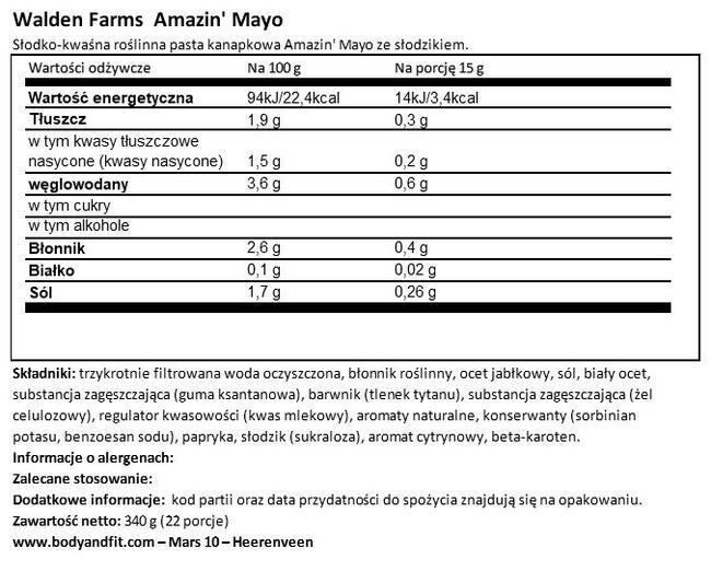 Majonez Nutritional Information 1