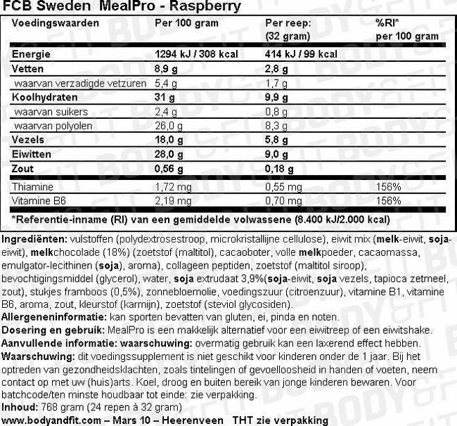 MealPro Nutritional Information 1