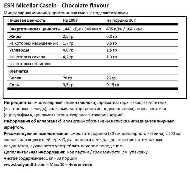 Micellar Casein Nutritional Information 1