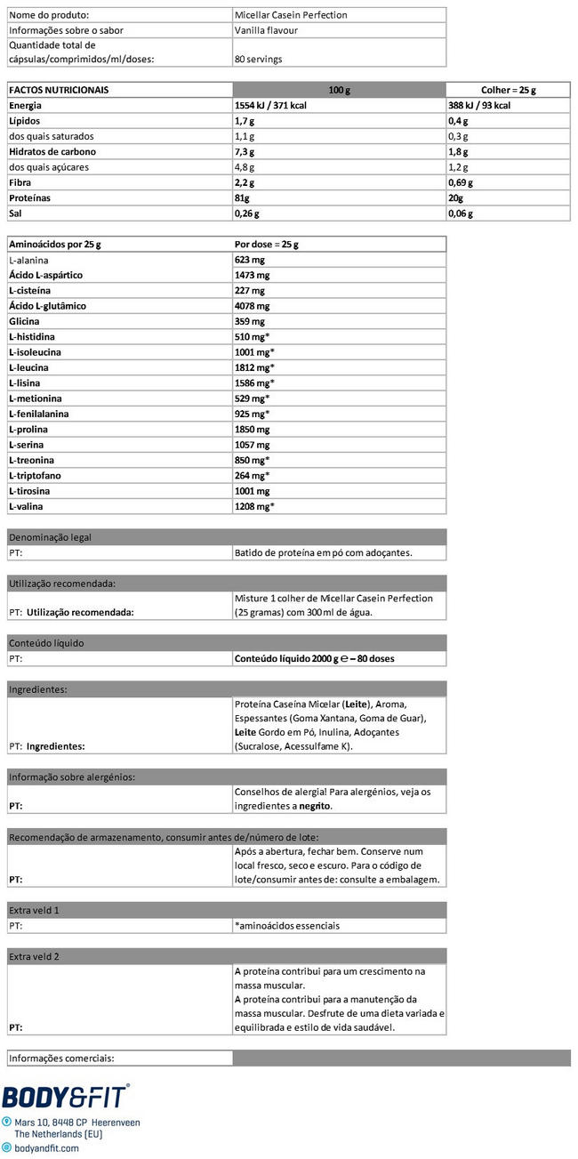 Micellar Casein Perfection Nutritional Information 1